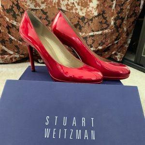 3 1/2 in red patent leather Stewart Wiseman pumps